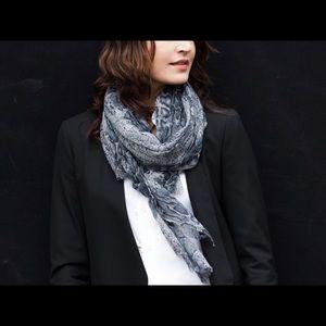 Soft Wool Blue Tone Python Print Scarf